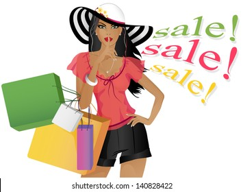 "Beautiful girl with shopping. Girl shows the sign "" quietly"", ""secret"", ""don't tell anyone"", ""big sale and discounts"". The girl in a hat. In the hand of the girls a lot of packages with shopping."