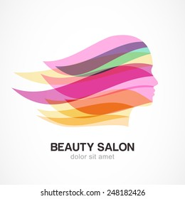 Beautiful girl silhouette with colorful streaming hair. Abstract design concept for beauty salon, massage, cosmetic and spa. Vector female logo design template.