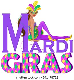 Beautiful girl sitting on Mardi Gras title