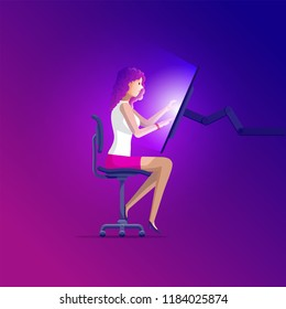 Beautiful girl is sitting on modern office chair and working big touch screen computer. Vector illustration.