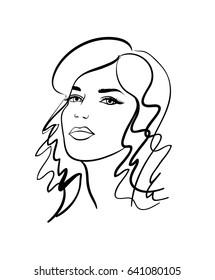 Beautiful girl, sketch, vector