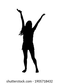 Beautiful girl standing with raised arms silhouette. Happy slim girl raised her hands up. Vector illustration isolated on white background.