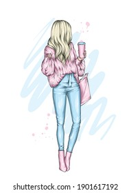 Beautiful girl in stylish clothes and coffee. Vector illustration for a postcard or poster, print. Fashion and style, clothing and accessories. Valentine's Day and love.