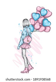 Beautiful girl in stylish clothes and heart-shaped balloons. Vector illustration for a postcard or poster, print. Fashion and style, clothing and accessories. Valentine's Day and love.