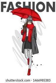 Beautiful girl in a stylish coat, boot, scarf and hat. Autumn clothes and umbrella. Autumn, spring and winter. Illustration for a postcard or poster, print on clothes. Accessories. Vector.