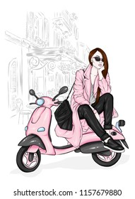 Beautiful girl in a stylish coat, jeans and shoes. Vector illustration for a postcard or a poster. Fashion and style, clothing and accessories. Bouquet of peony and roses. Flowers. Vintage moped.