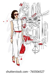 Beautiful girl in a stylish suit, shoes, glasses and with a bag. Fashionable clothes and accessories. Fashion & Style. Vector illustration for a postcard or a poster. Woman in trousers.