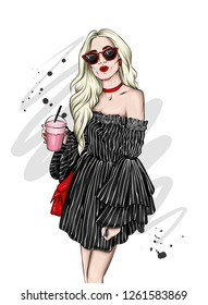 Beautiful girl in a stylish summer dress and glasses. Stylish girl with a cocktail. Vector illustration for ottyki or poster, print on clothes. Fashion & Style.