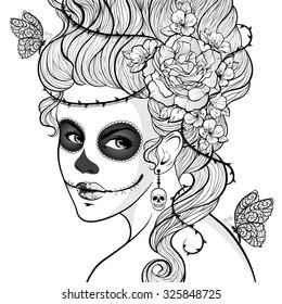 Beautiful girl with Sugar Skull face paint. Vector illustration