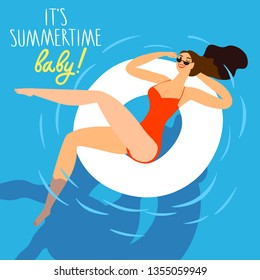Beautiful girl swimming in a pooland winking. It's summer time baby title. Cartoon illustration for your design.