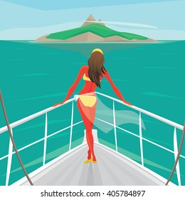 Beautiful girl in a swimsuit standing on the front of the boat deck and looks at an island in the distance. View from the back - Sea voyage or cruise concept. Vector illustration