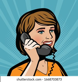 Beautiful girl talking on phone. Retro comic pop art vector illustration