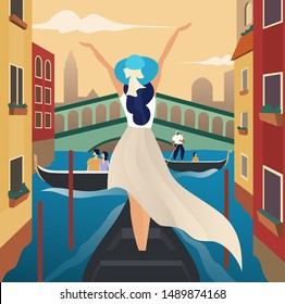 Beautiful girl travel alone concept. Tourism and Vacancies in Venice, Italy. Vector illustration of a traveling young woman