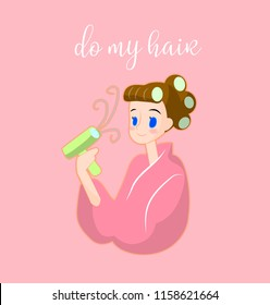 Beautiful girl using hair curlers on her head and holding hair dryer, vector illustration.