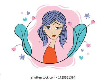 Beautiful girl vector illustration, Girl Avatar, Frame icon design, Abstract vector banners, Design elements, international women's day.