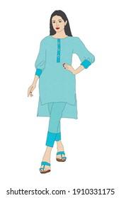 Beautiful girl wearing traditional Pakistani suit shalwar kameez
