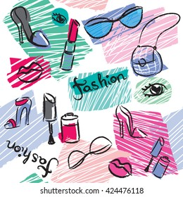 Beautiful girlish pattern with lips, eyes, shoes, lipstick, glasses, bag. Creative seamless background for girls. Wallpaper for fashionable women.Tender colors.Fashion things drawing with black brush.