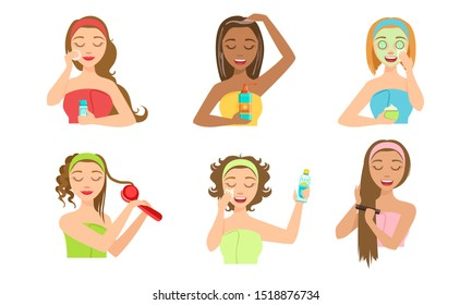 Beautiful Girls Applying Different Facial Masks Set, Young Women Caring for Facial Skin Vector Illustration
