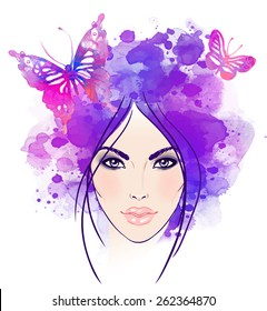 Beautiful girl's face with butterflies in her hair. Watercolor illustration in vector