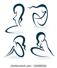 beautiful girls outlines, vector collection of woman silhouettes