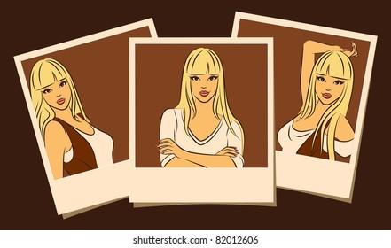Beautiful girls in photo frames. Vector