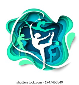 Beautiful girls, rhythmic gymnasts silhouettes dancing with ball, hoop and ribbon, vector illustration in paper art style. Rhythmic gymnastics. Ballet, acrobatics and dance.