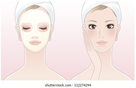Beautiful girl,spa woman touching her face, Spa woman with a beauty mask on the pink background. Skin care. Relaxation. Aroma therapy. Beauty treatment. Facial cleansing Mask.