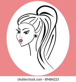 beautiful girl.vector illustration.cute character.fashion glamour woman