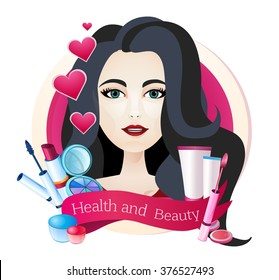 Beautiful glamorous well-groomed girl, portrait, face care, cosmetics, beauty, health.
