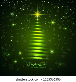 Beautiful glitters Merry christmas tree card design vector