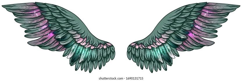 Beautiful glittery shiny magic gradiend green pink wings, vector