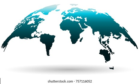 Beautiful Globe Map in Deep Smoky Blue Color Isolated on White Background. Vector Illustration