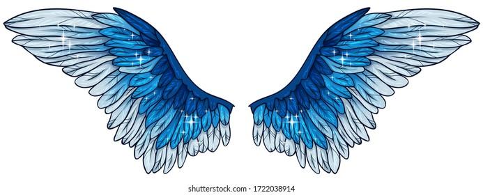Beautiful glowing bright blue angel wings, vector