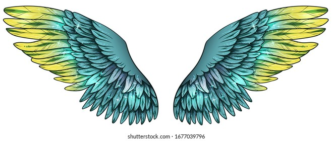 Beautiful glowing glittery magic green yellow wings, vector