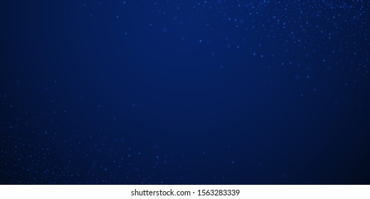 Beautiful glowing snow Christmas background. Subtle flying snow flakes and stars on dark blue night background. Appealing winter silver snowflake overlay template. Immaculate vector illustration.