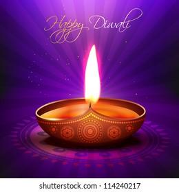 beautiful glowing vector diwali diya background