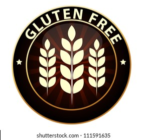 Beautiful Gluten free food packaging sign. Can be used as a stamp, emblem, seal, badge etc. Isolated on a white background.