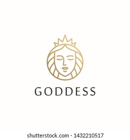 beautiful goddess outline vector logo design