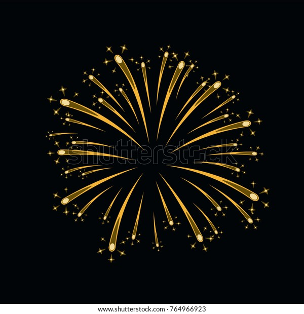 Beautiful gold firework. Bright firework isolated on black background. Light golden decoration firework for Christmas, New Year celebration, holiday, festival, birthday card Vector illustration