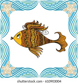 Beautiful gold fish and sea frame. Vector illustration.
