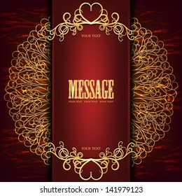 Beautiful gold frame with monogram on a dark red background old, the idea for the wine label
