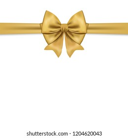 Beautiful golden bow for gift decor. Holiday decoration. Vector yellow bow isolated on white background