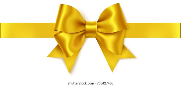 Beautiful golden bow and horizontal gold ribbon isolated on white. Decorative vector yellow bow. Vintage holiday decorations