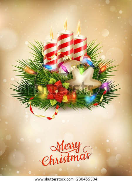 Beautiful golden Christmas background with candles. EPS 10 vector file included