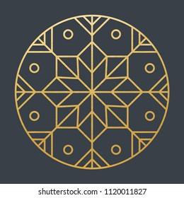 Beautiful Golden Decoration Ornament. Vector. Christmas. Oriental. Lines