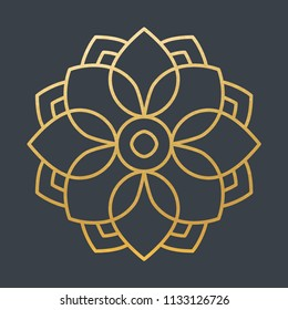Beautiful Golden Decoration Ornament. Vector. Christmas. Oriental. Lines