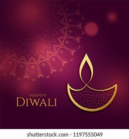 beautiful golden diwali diya festival background