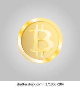 Beautiful golden expensive shiny coin cryptocurrency bitcoin technology blockchain graph isolated on white background.