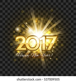 Beautiful golden fireworks with a bright flash of light and the words Happy New Year 2017! on a transparent background