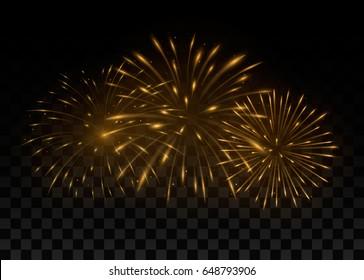 Beautiful golden fireworks. Isolated on transparent black background. Vector illustration, eps 10.